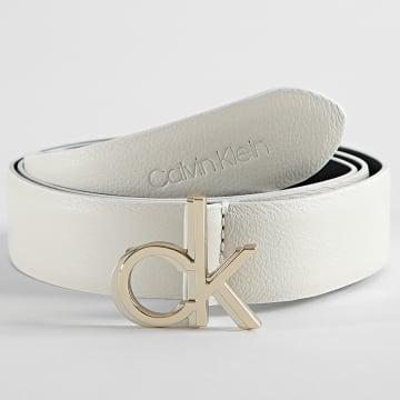 Calvin Klein - Ceinture Femme Logo Belt 7944 Blanc