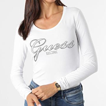 Guess - Tee Shirt Manches Longues Femme W1YI90 Blanc