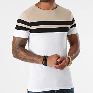 LBO - Tee Shirt Tricolore 1717 Beige Noir Blanc
