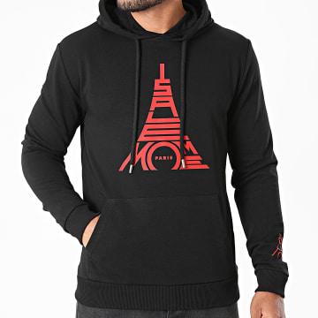 Niro - Sweat Capuche Paris Noir Rouge