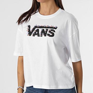Vans - Tee Shirt Crop Femme Rose Garden Blanc