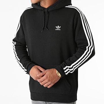 Adidas Originals - Sweat Capuche A Bandes 3 Stripes H06676 Noir