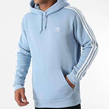 Adidas Originals - Sweat Capuche A Bandes 3 Stripes H06678 Bleu Clair
