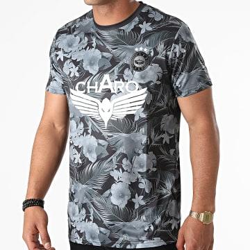 Charo - Tee Shirt De Sport Floral Maracana Noir Gris