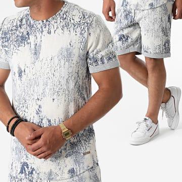 Uniplay - Ensemble Tee Shirt Short Jogging K-05 Beige Bleu