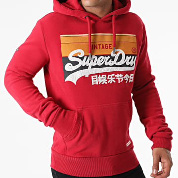 Superdry - Sweat Capuche Cali Stripe M2011136A Rouge