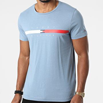 Tommy Hilfiger - Tee Shirt Global Stripe Chest 6572 Bleu Clair
