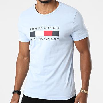Tommy Hilfiger - Tee Shirt Logo Box Stripe 6583 Bleu Clair