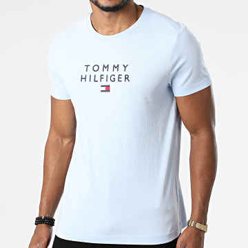Tommy Hilfiger - Tee Shirt Stacked Tommy Flag 7663 Bleu Clair
