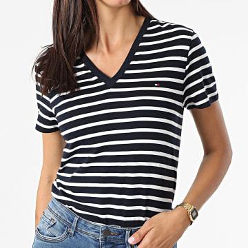 Tommy Hilfiger - Tee Shirt Femme New 7736 Bleu Marine