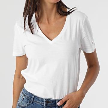 Tommy Hilfiger - Tee Shirt Femme Script 0988 Blanc