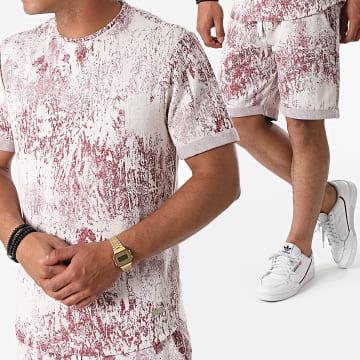 Uniplay - Ensemble Tee Shirt Short Jogging K-05 Blanc Bordeaux