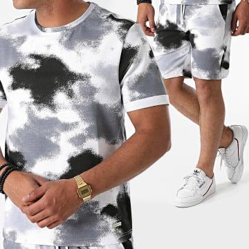 Uniplay - Ensemble Tee Shirt Short Jogging K-01 Blanc Gris Chiné Noir