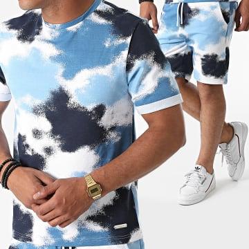 Uniplay - Ensemble Tee Shirt Short Jogging K-01 Blanc Bleu