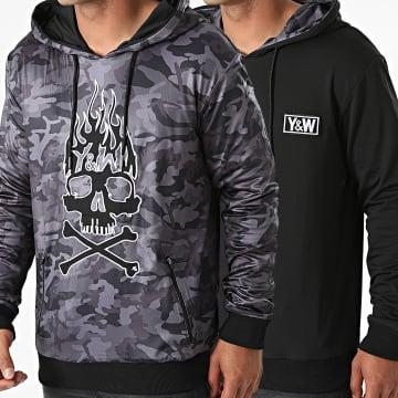 Y et W - Sweat Capuche Réversible Skull Army Noir Gris Anthracite Camouflage