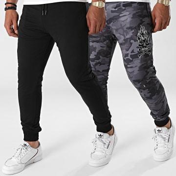 Y et W - Pantalon Jogging Réversible Skull Army Noir Gris Anthracite Camouflage