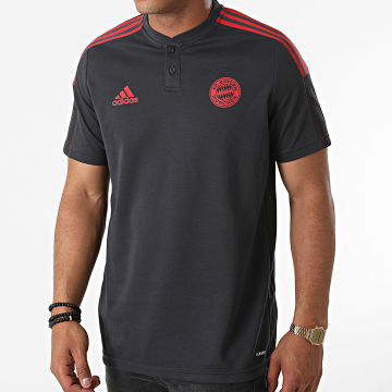 Adidas Performance - Polo Manches Courtes A Bandes FC Bayern GR0648 Gris Anthracite Rouge