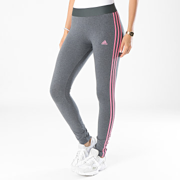 Adidas Performance - Legging Femme A Bandes H07769 Gris Anthracite Chiné Rose