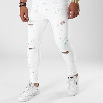 Gianni Kavanagh - Jean Skinny Neon Paint Splatter GKM001680 Blanc