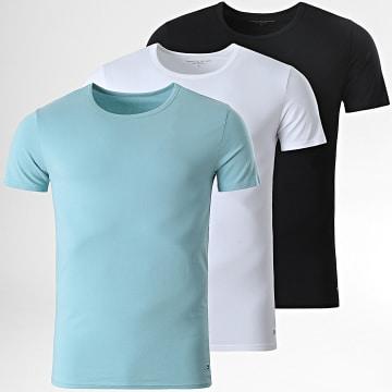 Tommy Hilfiger - Lot De 3 Tee Shirts Crew-Neck Premium Essentials Noir Blanc Bleu Clair