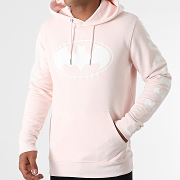 DC Comics - Sweat Capuche BW Front And Sleeve Rose Pastel Blanc