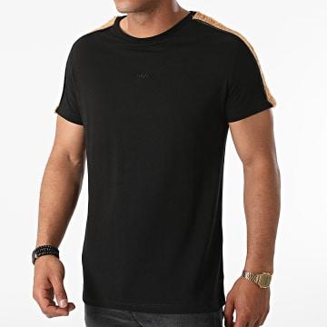 Black Industry - Tee Shirt A Bandes Fourrure T-145 Noir Marron