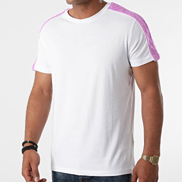 Black Industry - Tee Shirt A Bandes Fourrure T-140 Blanc Violet