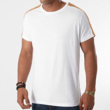 Black Industry - Tee Shirt A Bandes Fourrure T-146 Blanc Marron