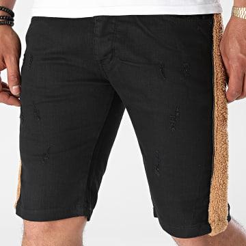 Black Industry - Short Jean A Bandes Fourrure P516 Noir Marron
