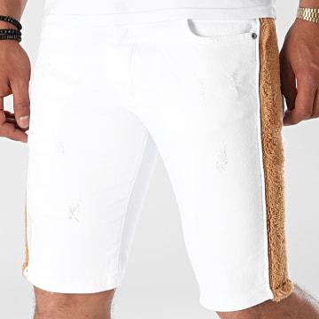 Black Industry - Short Jean A Bandes Fourrure P516 Blanc Marron