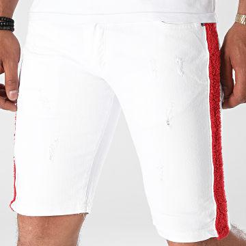 Black Industry - Short Jean A Bandes Fourrure P486 Blanc Rouge