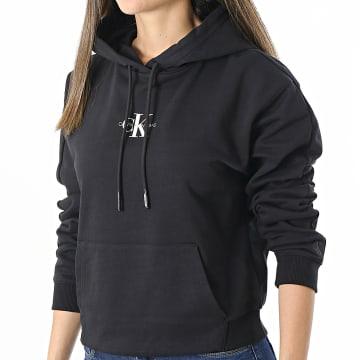Calvin Klein - Sweat Capuche Femme Cropped Monogram 6232 Noir