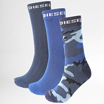 Diesel - Lot De 3 Paires De Chaussettes 00SI8B-0HAZV Bleu Marine Camouflage