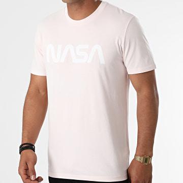 NASA - Tee Shirt Worm Rose Pastel Blanc