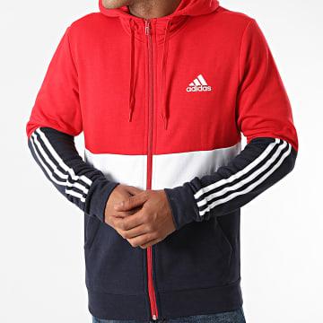 Adidas Performance - Sweat Zippé Capuche Tricolore CB H58979 Rouge Bleu Marine