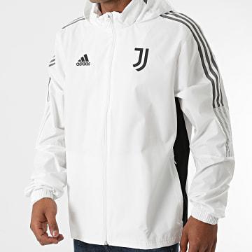Adidas Performance - Veste Zippée Capuche A Bandes Juventus GR2943 Ecru