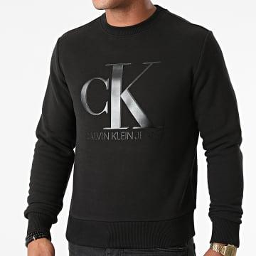 Calvin Klein - Sweat Crewneck Leather Monogram 8177 Noir