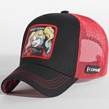 Capslab - Casquette Trucker Harley Quinn Noir Rouge