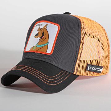 Capslab - Casquette Trucker HeeHee Noir Orange Fluo