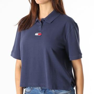 Tommy Jeans - Polo Manches Courtes Femme Center Badge 0347 Bleu Marine