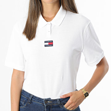Tommy Jeans - Polo Manches Courtes Femme Center Badge 0347 Blanc