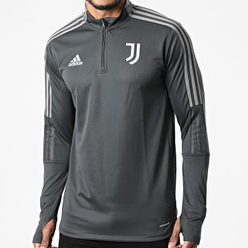 Adidas Performance - Sweat Col Zippé A Bandes Juventus GR2942 Gris Anthracite