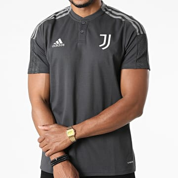 Adidas Performance - Polo Manches Courtes A Bandes Juventus GR2974 Gris Anthracite