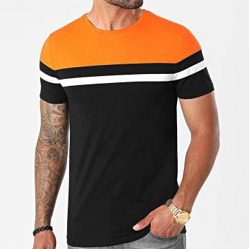 LBO - Tee Shirt Tricolore 1633 Noir Orange