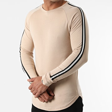 LBO - Tee Shirt Manches Longues Oversize Avec Bandes 1820 Beige