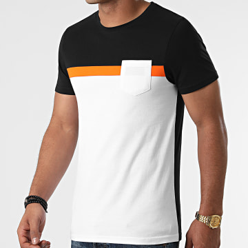 LBO - Tee Shirt Poche Tricolore 1853 Noir Blanc Orange