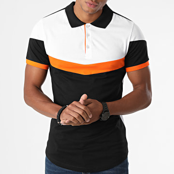 LBO - Polo Manches Courtes Tricolore 1855 Noir Blanc Orange
