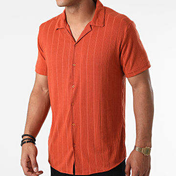 Mackten - Chemise Manches Courtes A Rayures 103 Rouille