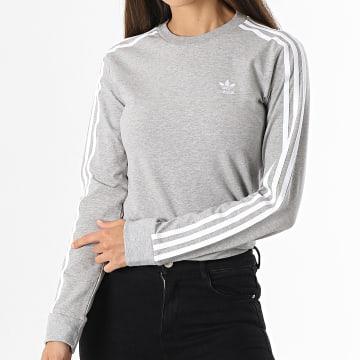 Adidas Originals - Tee Shirt Manches Longues Femme A Bandes H33570 Gris Chiné