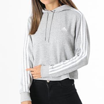 Adidas Performance - Sweat Capuche Femme A Bandes GM5592 Gris Chiné